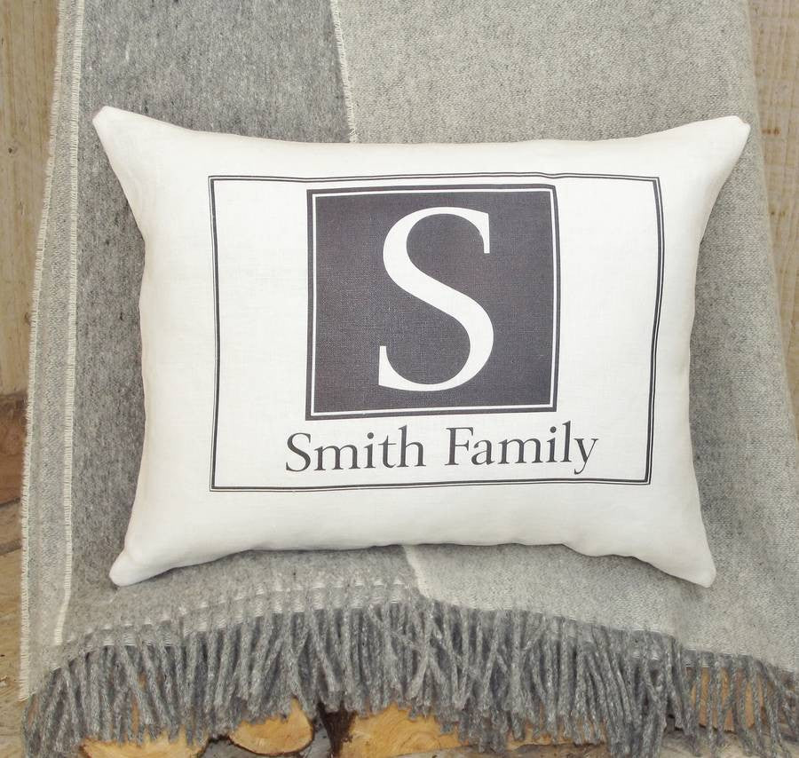 ' Letter and Family Name Monogram ' Cushion