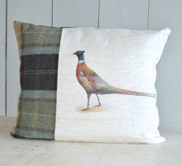 ' Linen and Tweed Pheasant ' Cushion
