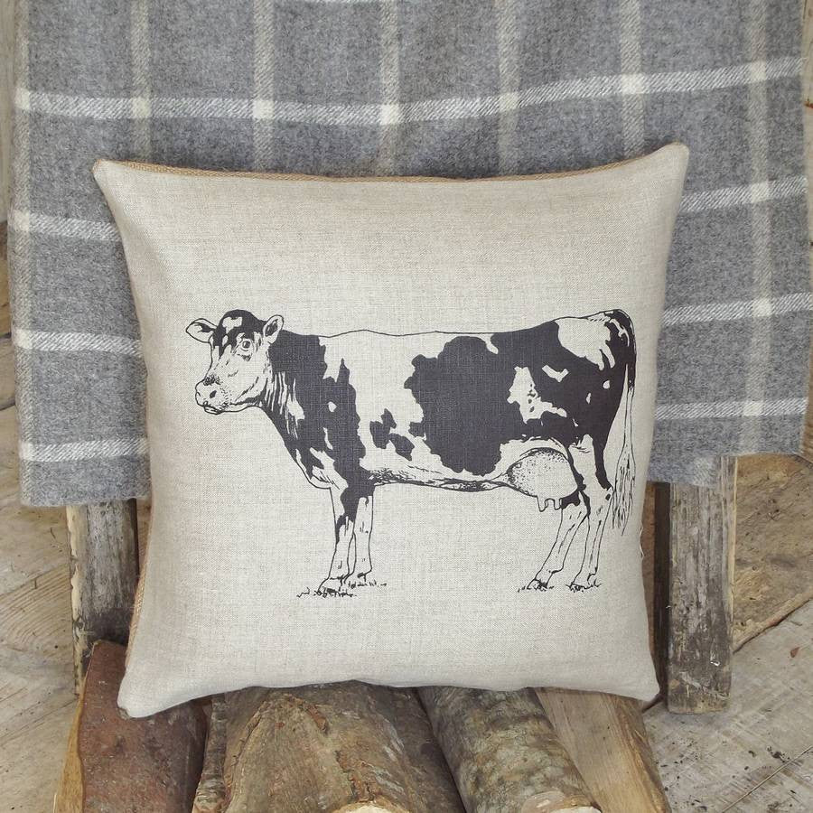 ' Cow ' Linen Cushion