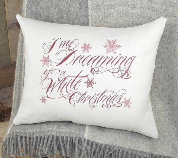 ' Dreaming of a White Christmas ' Linen Cushion