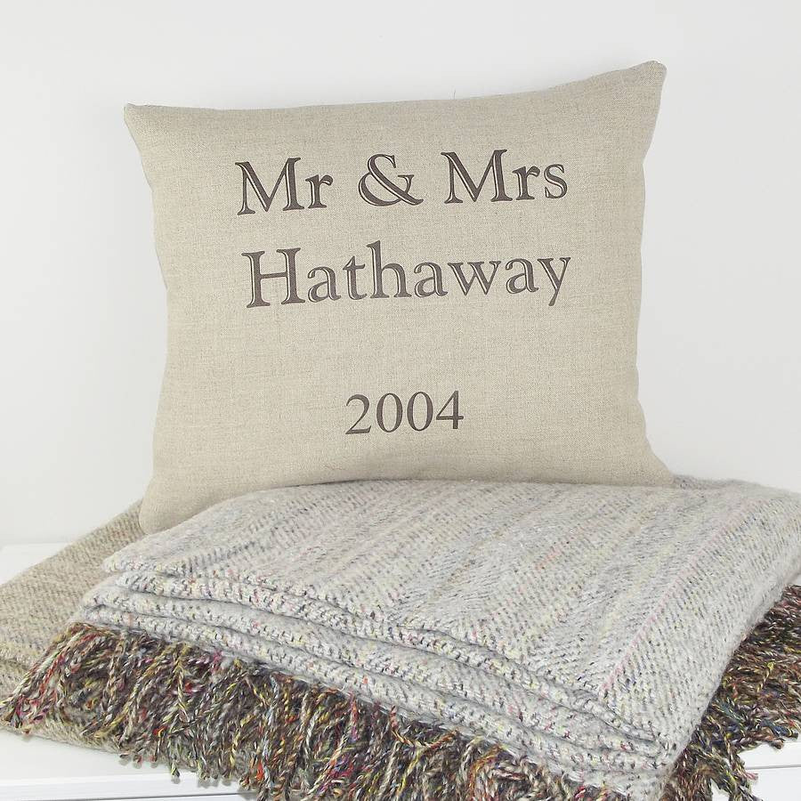 ' Mr And Mrs Since Year ' Personalised Cushion