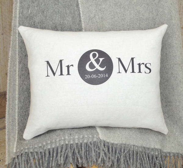 ' Mr And Mrs ' Special Date Linen Cushion