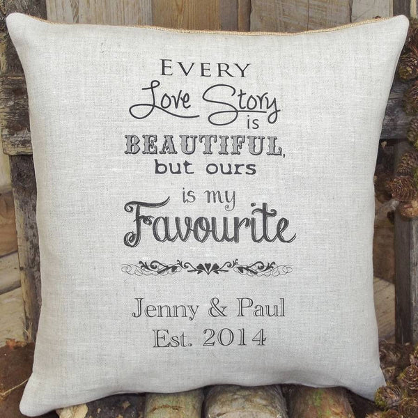 ' Our Love Story ' Personalised Cushion