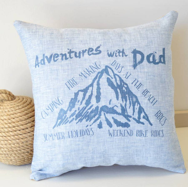 ' Adventures with Dad ' Personalised Linen Cushion
