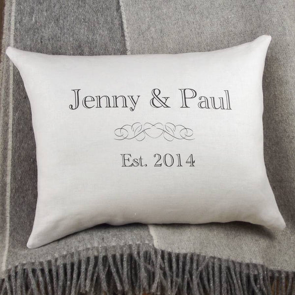 ' Couples Est ' Personalised Ivory Linen Cushion