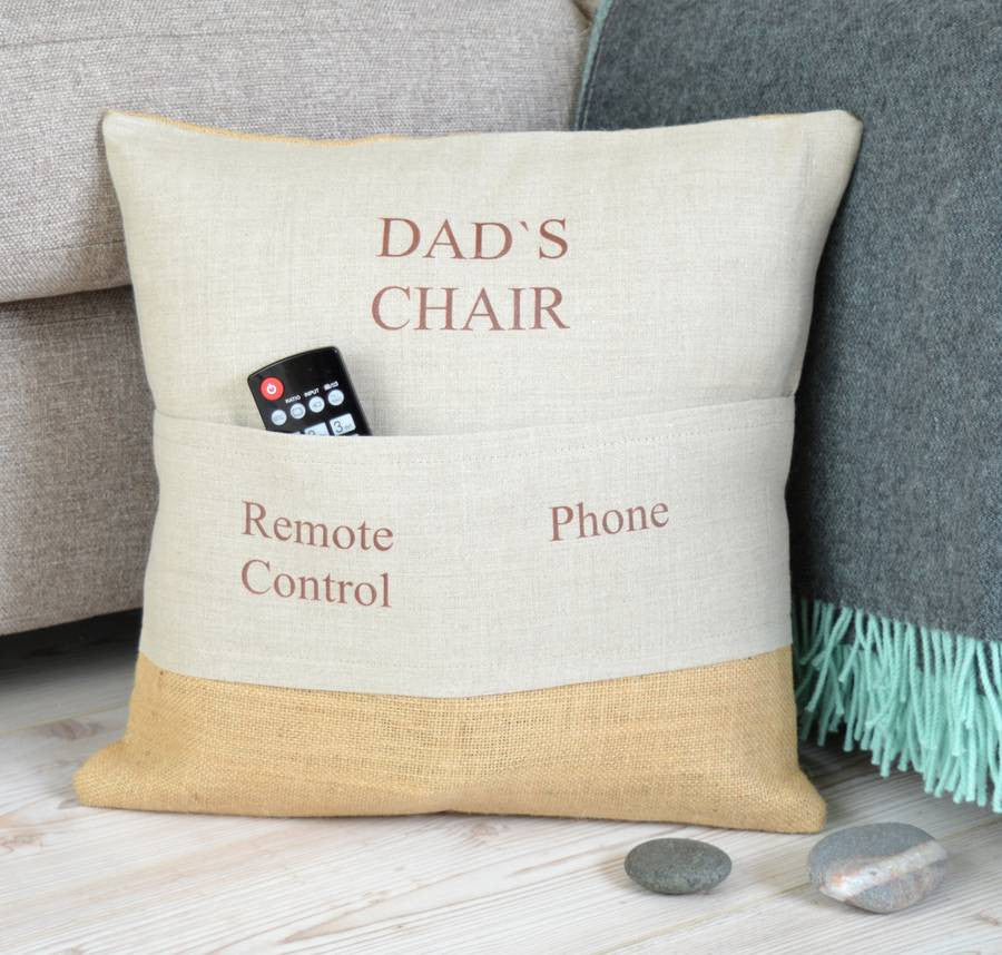 39 Dad 39 S Chair 39 Personalised Pocket Cushion