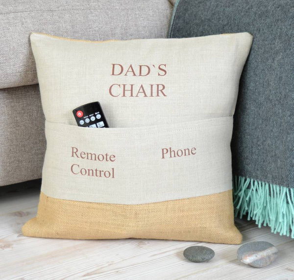 ' Dad's Chair ' Personalised Pocket Cushion