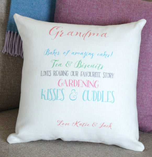 ' Grandma '  Personalised Ivory Linen Cushion