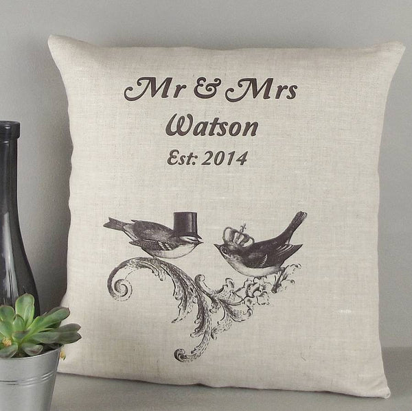 ' Mr & Mrs ' Personalised Birds Linen Cushion