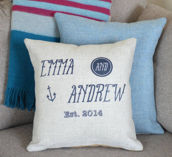 ' Nautical '  Personalised Linen Cushion
