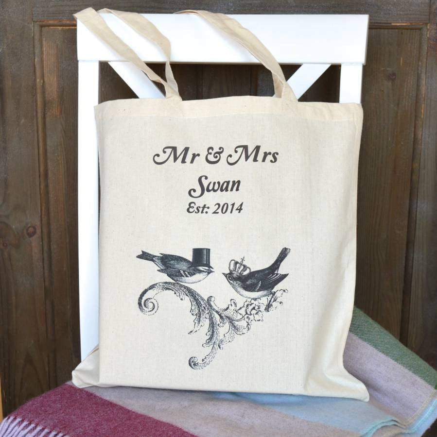 ' Wedding Anniversary Birds Est. ' Personalised Tote Bag