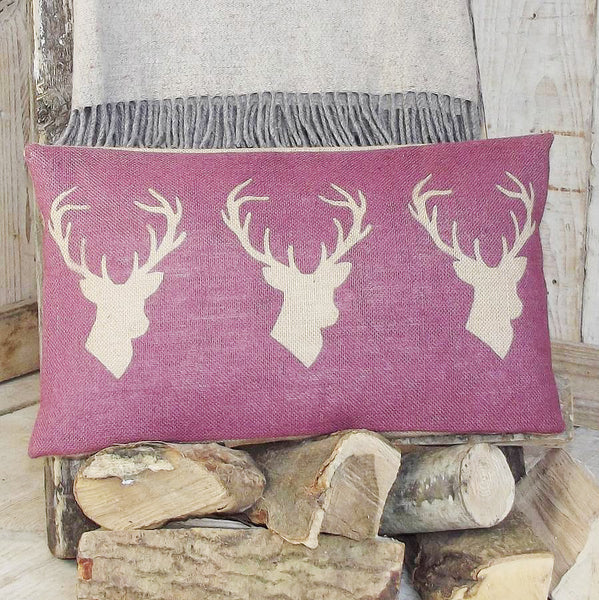 ' Triple Stag ' Plum Cushion