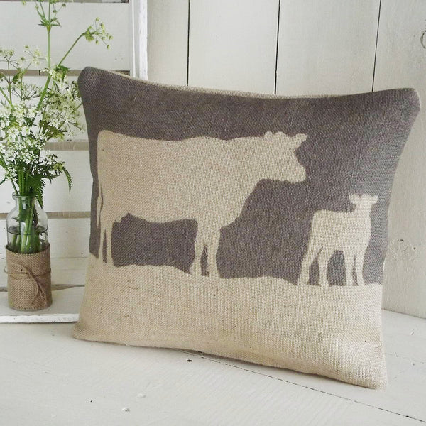 ' Cow and Calf ' Cushion (Chestnut)