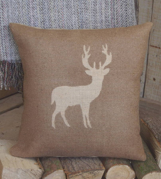' Deer ' Hessian Cushion (Brown)