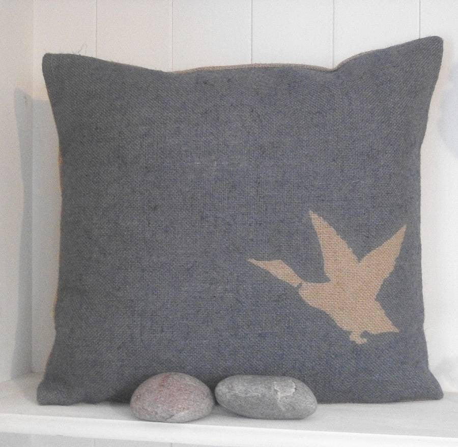 ' Rustic Duck ' Cushion (Blue)