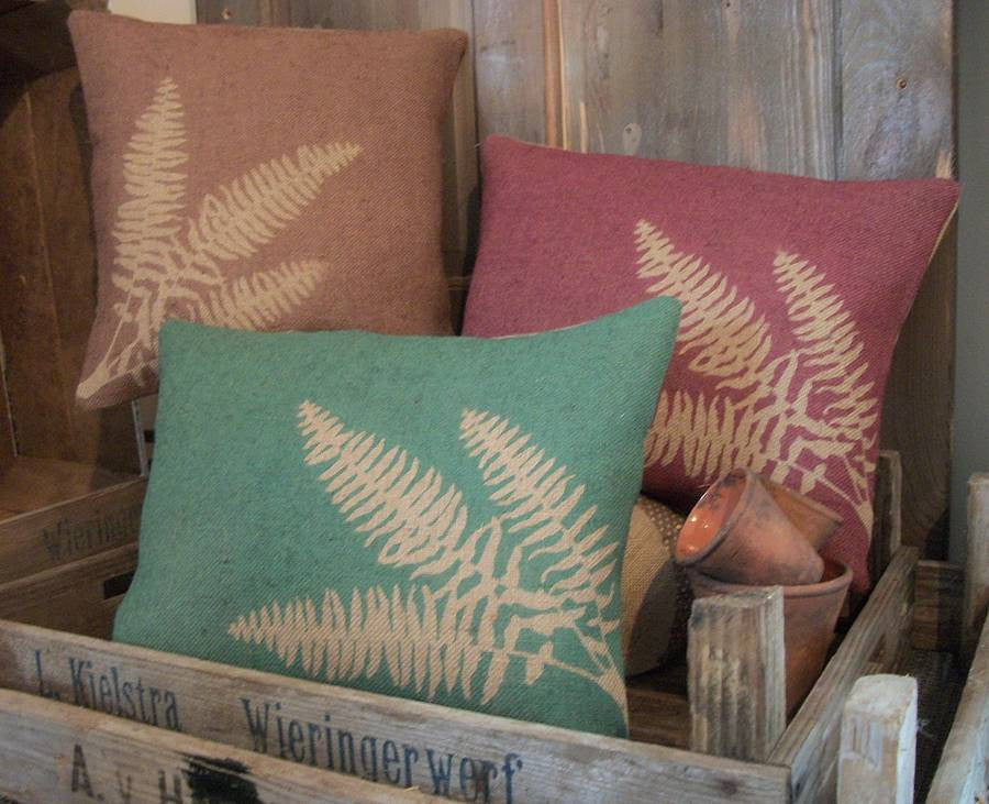' Fern ' Hessian cushion (Brown, Green & Red)