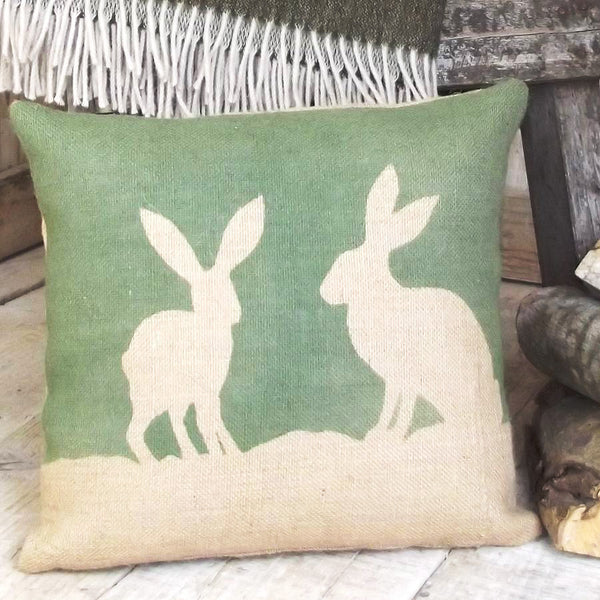 ' Country Hare ' Hessian Cushion (Green)