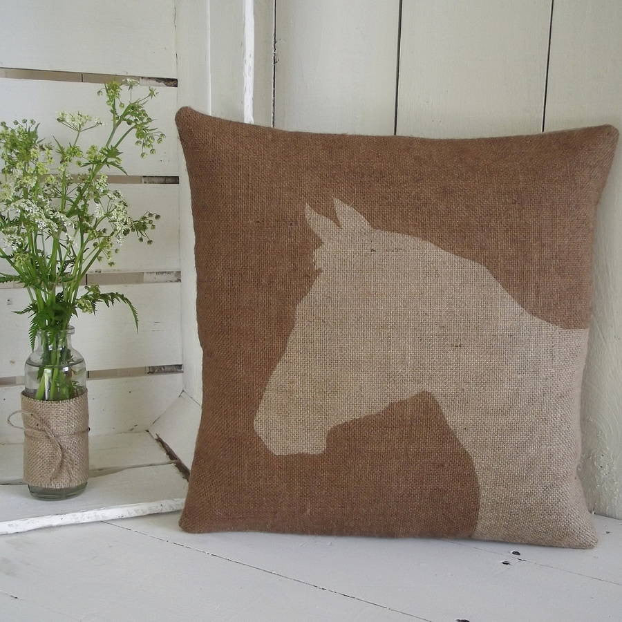 ' Rustic Horse ' Cushion (Chestnut)