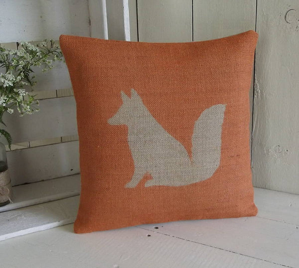 ' Rusty The Fox ' Hessian Cushion (Orange)
