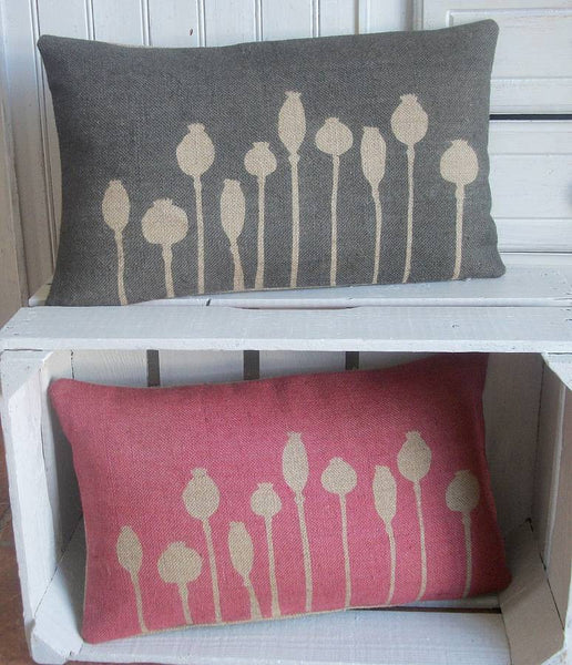 ' Poppy Seed Head ' Cushion (Red & Black)