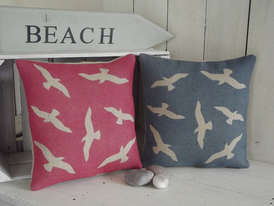 ' Seaside Seagull ' Cushions (Red & Charcoal)