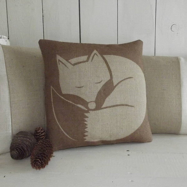 ' Chestnut Sleeping Fox ' Cushion