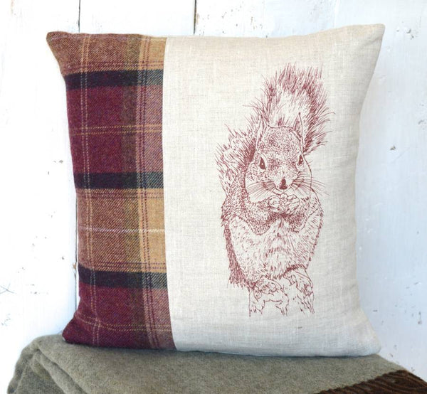 ' Tweed and Linen Squirrel ' Cushion