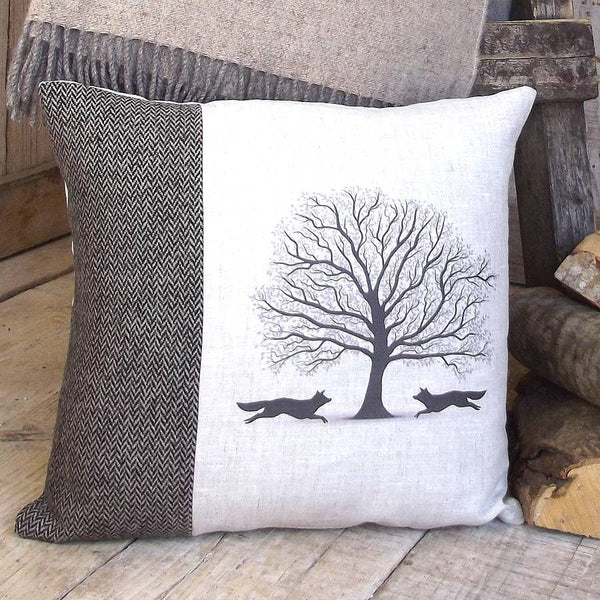 ' Woodland Fox ' Tweed and Linen Cushion