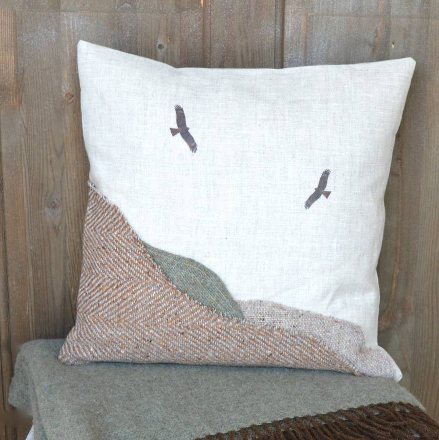 ' Tweed Landscape Mountains And Birds' Cushion