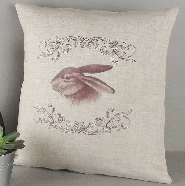 ' Chocolate Rabbit ' Vintage Style Cushion