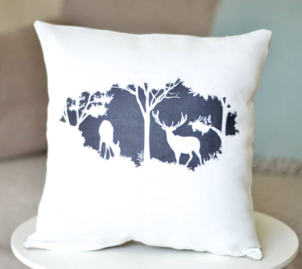 ' Woodland Deer ' Ivory Linen Cushion