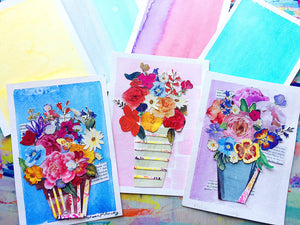Pretty Spring Floral Collage + Watercolor Art