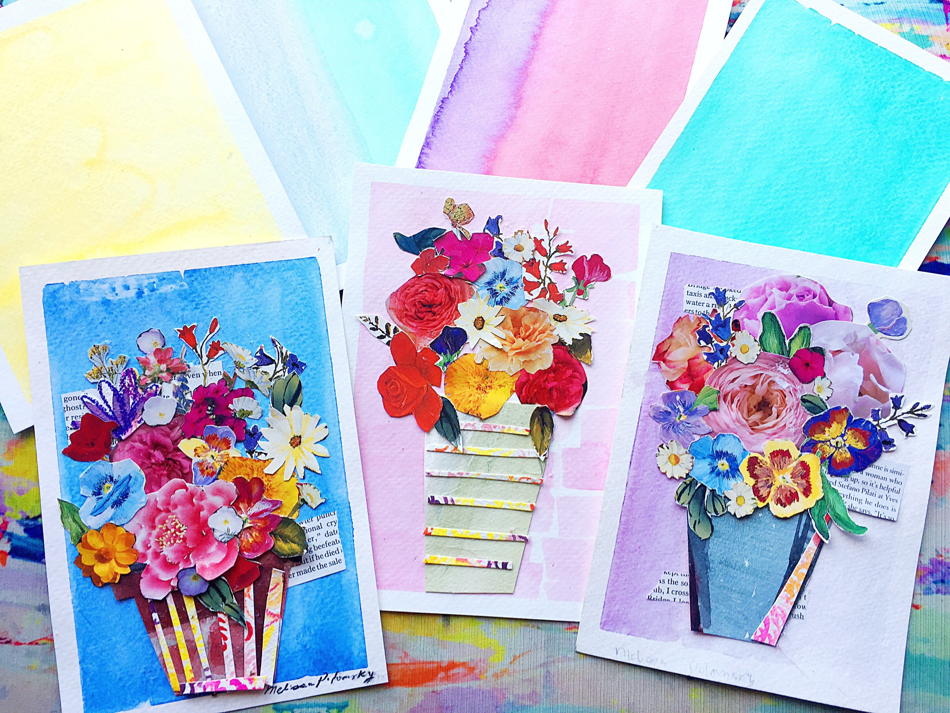 Pretty Blue Spring Floral Collage + Watercolor Art