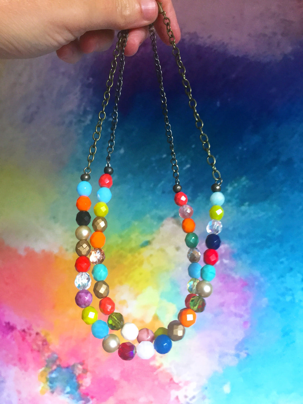 Colorful and Unique Czech Glass Beaded Necklace.