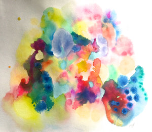 Neon Rainbow Abstract Watercolor Painting