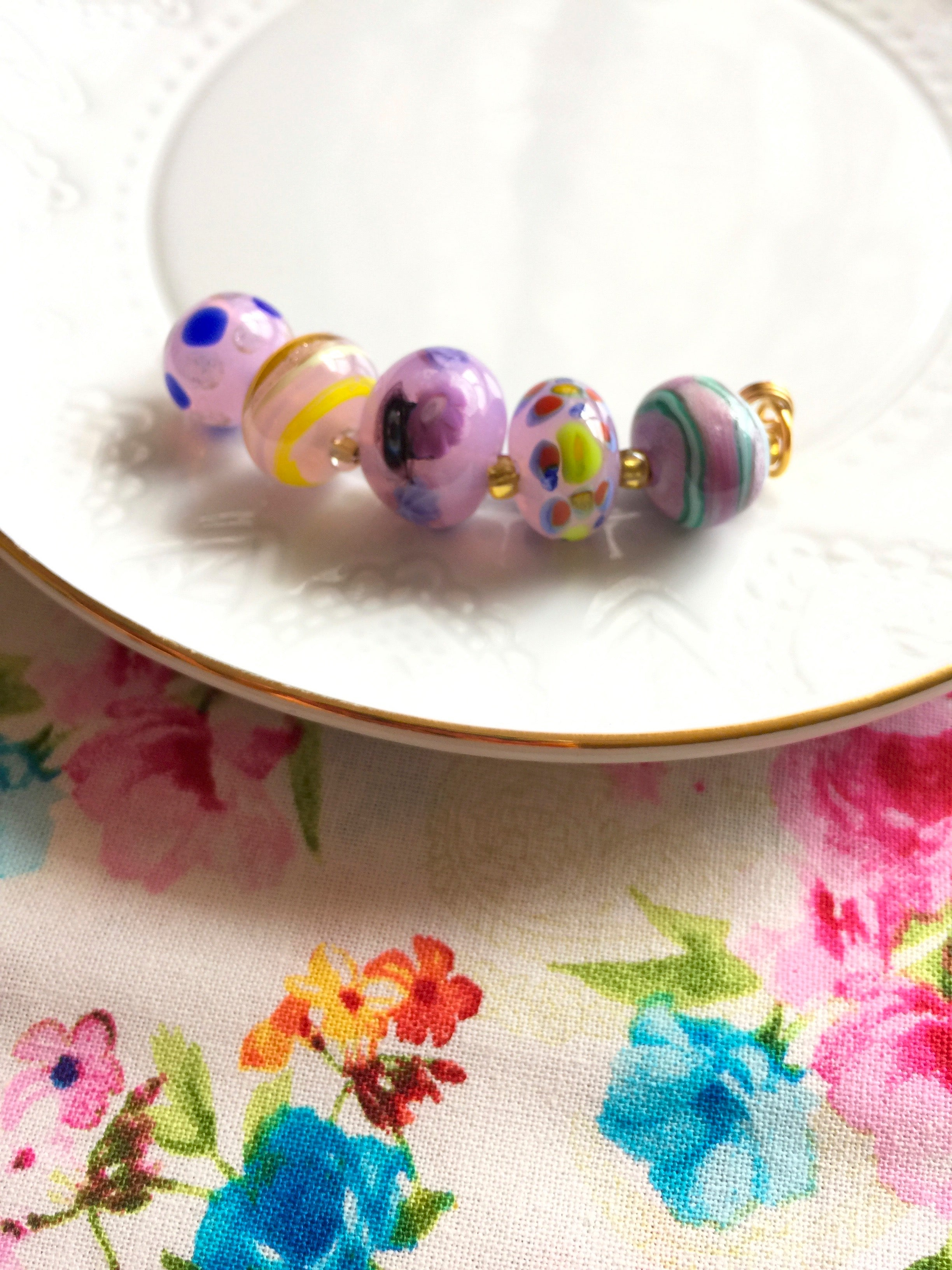 Set of 5 Handcrafted Lampwork Glass Beads in shades of Pink, Blues, Violet with spots and stripes Active