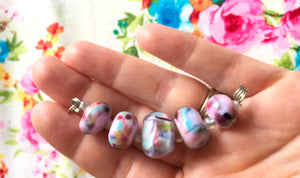 Set of 5 Handcrafted Lampwork Glass Beads in shades of Pink, Blues, Violet with spots and swirls. Perfect for crafting and jewelry making.