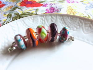 Set of 5 Colorful Handcrafted Lampwork Glass Beads with Bright Swirls, Stripes, and Dots in fun summer colors.