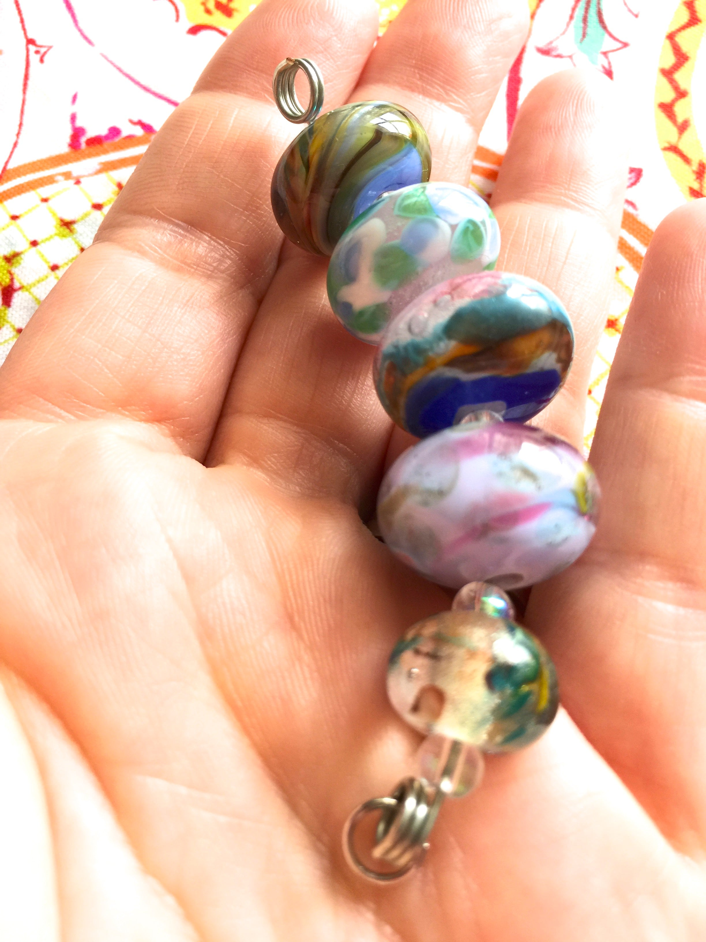 Set of 5 Colorful Handcrafted Lampwork Glass Beads with Colorful Swirls and Dots in pretty spring colors.