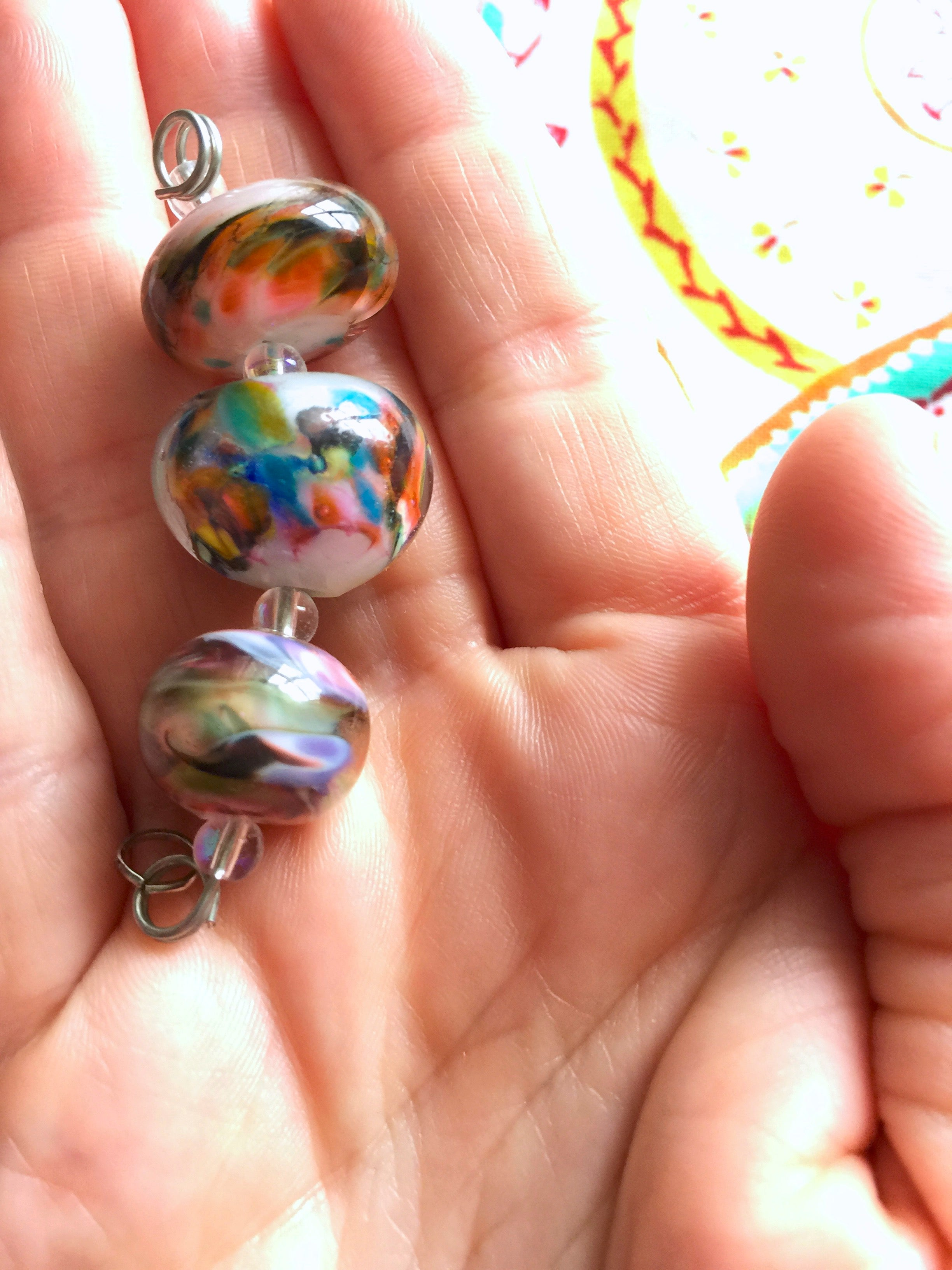 Set of 3 Funky and Unique Colorful Handcrafted Lampwork Glass Beads.