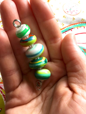 Set of 5 Colorful Handcrafted Lampwork Glass Beads with Bright Swirls and stripes in fun summer colors.