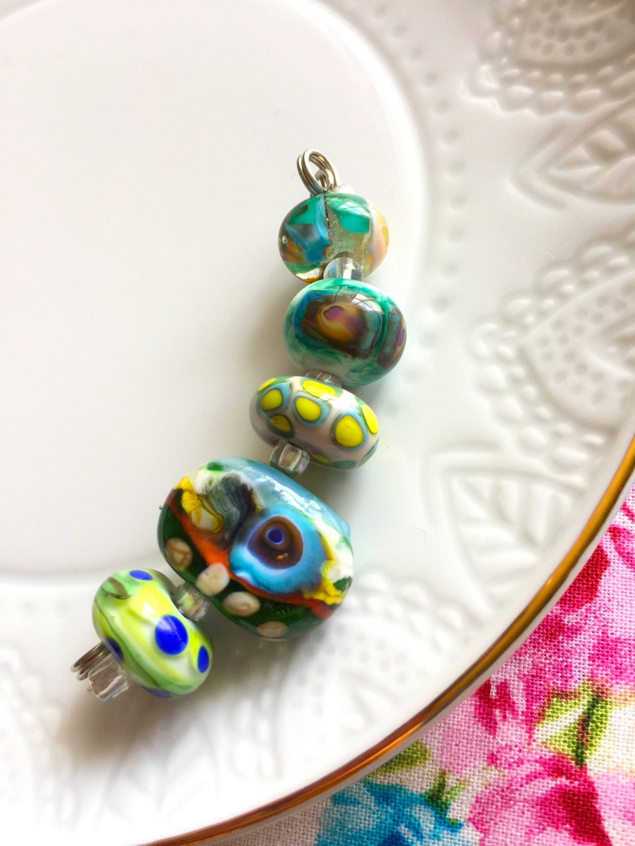 Set of 5 Colorful Handcrafted Lampwork Glass Beads with Bright Swirls and stripes in fun summer colors