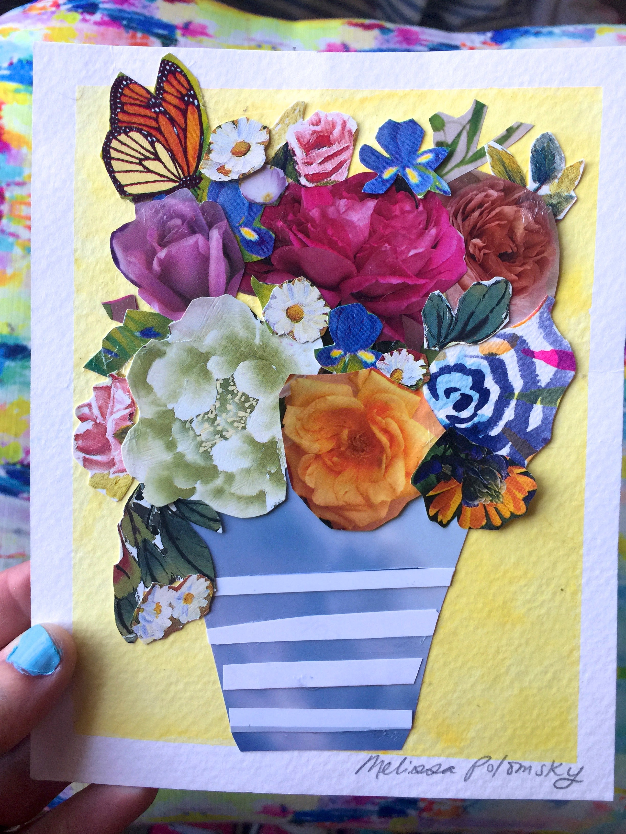 Soft Yellow Floral Collage + Watercolor Art