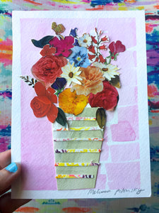 Light Pink Floral Collage + Watercolor Art
