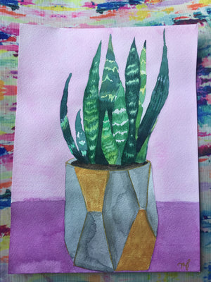 Pretty Watercolor Plant in tones of pink, purple, green, and gold.