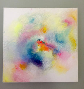 Pastel + Neon Abstract Painting on Canvas