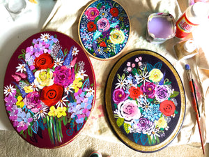 Wooden Oval Floral Painting with Vibrant Colorful Flower Bouquet