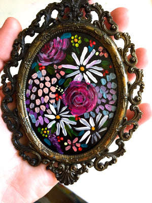 Small Floral Painting with Vibrant Colorful Florals in Pretty Oval Vintage Frame.