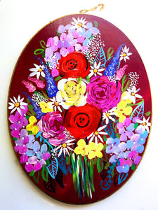 Large Wooden Oval Floral Painting with Vibrant Colorful Flower Bouquet