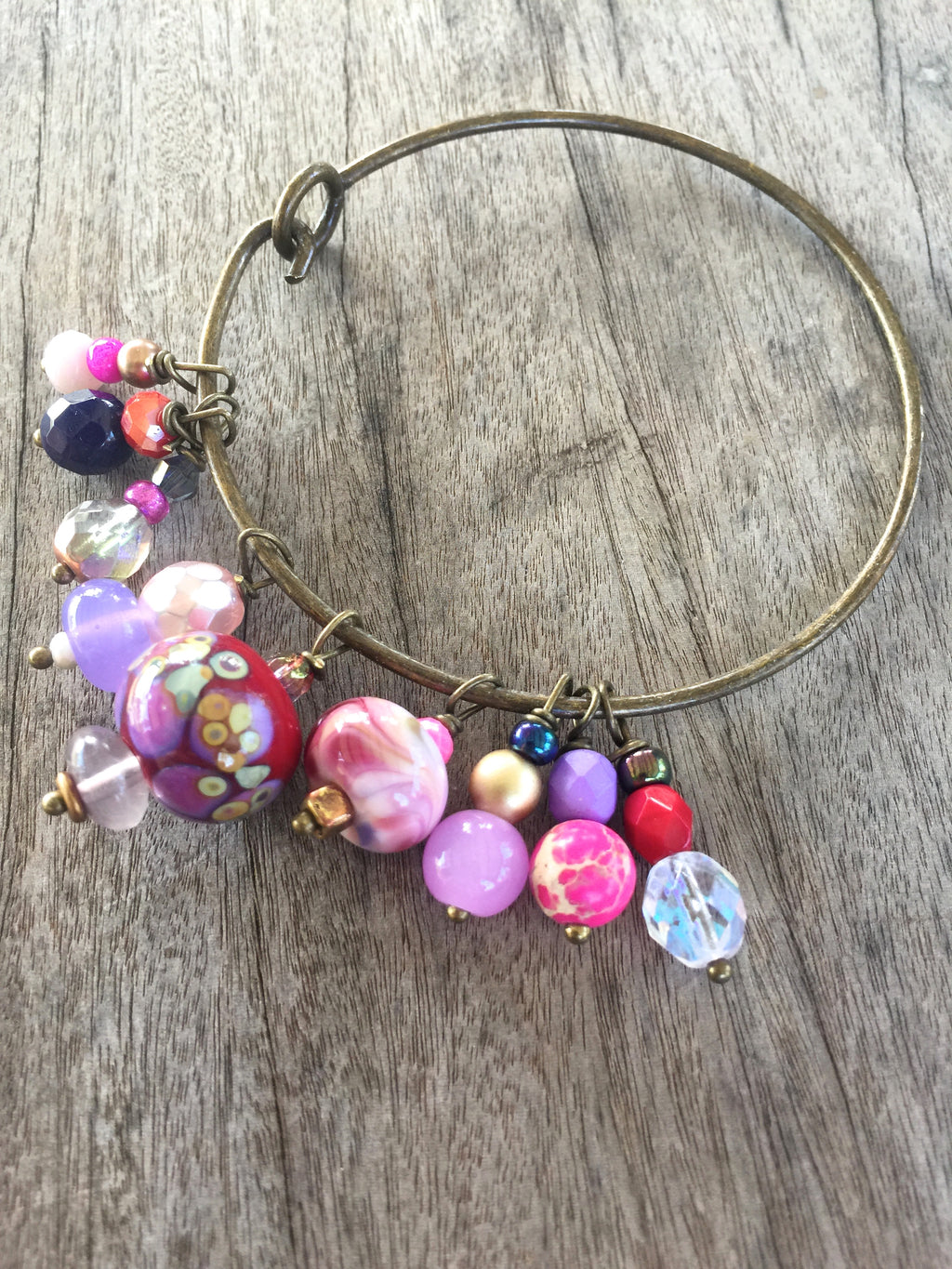 Pink and Purple Lampwork and Czech Glass Beaded Charm Bracelet
